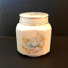 Sadler England Square Floral Jar Blue Peonies Pink & Blue Daisies 4.5 Inches