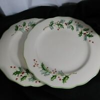 """St Nicholas Square Holly Berry Dinner Plates 11"""" Set of 2 Christmas Holiday GUC"""