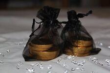 100 x BLACK ORGANZA BAGS WEDDING TABLE DECORATION 7cm x 9cm UK SELLER