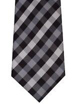 John Ashford tie men necktie black gray plaid polyester new