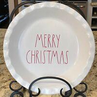 "Rae Dunn MERRY CHRISTMAS Pie Plate Dish 10"" LL RED Farmhouse Scalloped Edge New"