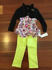 Baby Girls CALVIN KLEIN Authentic Designer 3 Piece Jeans & Top Set Size 3T BNWT