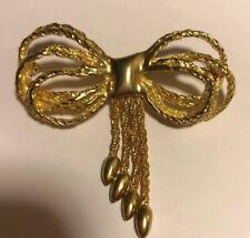 Beautiful Gold Tone Fashion Bow Brooch