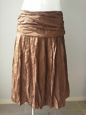 As New COUNTRY ROAD sz 14 Brown Silk Fully Lined Skirt Buy Any 3=Free Post