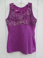 Danskin Women's Size L Large 12-14 Purple Floral Sleeveless Blouse Tank Top