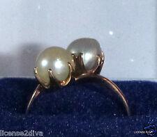YELLOW GOLD 14K GENUINE ART DECO PEARL RING WHITE/GRAY PEARL SIZE 7.25 DECO BOX