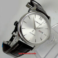 40mm corgeut silver dial day date sapphire glass miyota automatic mens Watch 136