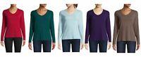 St. John's Bay-Women's V Neck Long Sleeve T-Shirt (Choose Color & Size)