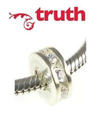 TRUTH PK 925 sterling silver crystal CZ SPARKLE spacer charm bead