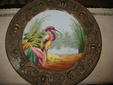 Antique Hand Painted Flamingo Plate in Embossed Copper Frame W/Floral Design