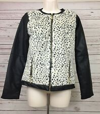 Cherokee Girls XL Black Jacket Faux Leather Faux Leopard Fur Zipped Lining