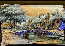 Thomas Kinkade Cobblestone LED Woven Tapestry with Wooden Pole