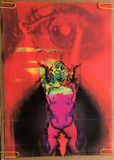 Inferno? Original Vintage Blacklight Poster Woman Flames Hell Fire 1970's Pin Up