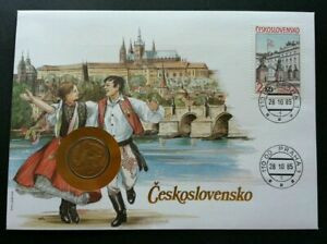 [SJ] Czechoslovakia Traditional Dance 1985 Costumes Building FDC (coin cover)