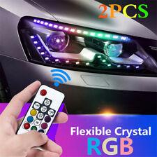 2x Crystal RGB LED Daytime Running Light Strip 8 Models Turn Signal Flowing Lamp