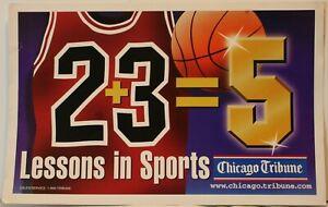 "1997 Chicago Bulls 2+3=5 11 x 17"" News Stand Sign Poster 23 Michael Jordan"