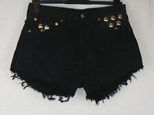 Levi Strauss 501 Womens Shorts Black Hotpants Stud Detail Rare High Waisted W29