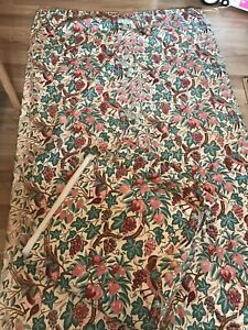 A PAIR OF INTERLINED FLORAL PINK SHABBY CHIC VINTAGE RETRO LIBERTY DOOR CURTAINS