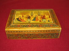 Vintage Handmade Inlaid Wood Trinket Box Hand Painted Raised Dancing Figures Lid