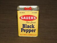 "VINTAGE KITCHEN  3 1/4"" HIGH SAUER'S BLACK PEPPER TIN *EMPTY*"