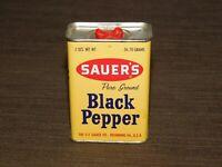 """VINTAGE KITCHEN  3 1/4"""" HIGH SAUER'S BLACK PEPPER TIN *EMPTY*"""