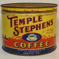 Vtg 1940s TEMPLE STEPHENS COFFEE KEYWIND COFFEE TIN ONE POUND MOBERLY MISSOURI