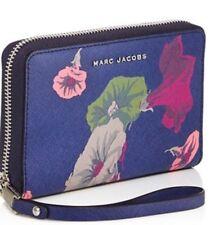 New Marc Jacob Morning Glories Saffiano Leather Smartphone Wristlet navy multi