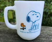 Vtg NWT 1965 Snoopy Woodstock Peanuts Mug Anchor Hocking Fire King NOT WORTH A..