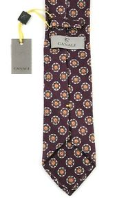 NWT $195 Mens CANALI 1934 Maroon Floral Medallion Knit 100% Silk Tie Italy 3.25""