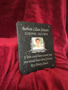 Grave Photo Plaque Beautiful Memorial Stone Slate with Personalised Photo & Poem
