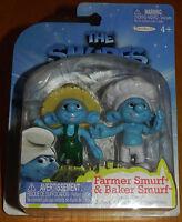 Smurfs Set of 2 PVC/Cake Toppers Figures Farmer & Baker Grab 'Ems Jakks Pacific