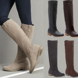 Women Suede Knee High Riding Boots Pull On Flat Heel Retro Round Toe Boots Shoes