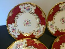 """Set of 10 Coalport Batwing Ruby Red Floral Bone China Plates 9"""""""