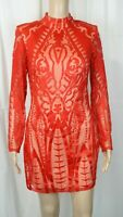 Missguided Peace + Love Red High Neck Long Bodycon Dress UK Size 8 VR184 014
