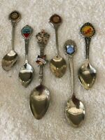 Mixed Lot of 6  Vintage Silver Plate & Stainless Souvenir Collector  Spoons