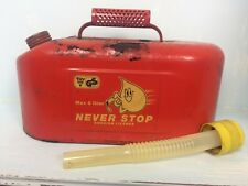 Vintage Petrol Can - Never Stop Swedish Licence 5 Litre Spout in Cap