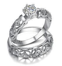 Women's Vintage Style Engagement Ring Antique Wedding Ring Set Size 8 R99
