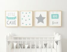 Set of 4 Little Man Cave Boys Room Kids Nursery Wall Art Prints MINT & Grey 7x5
