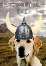 Labrador Retriever hs200 Viking Warrior Fun Happy Father's Day Greeting Card