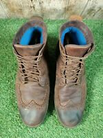 Men's Timberland Brogue Brown Brown Leather Ankle Boots Size UK 9 UK 9.5 W