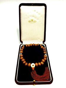 Japanese Buddhist Prayer Beads Wood Mitsukoshi Juzu Rosary Bracelet Religion Box