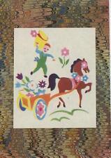 VINTAGE ART DECO HORSE FLOWERS ART METAPHYSICAL MINIATURE PRINT ON ANTIQUE PAPER