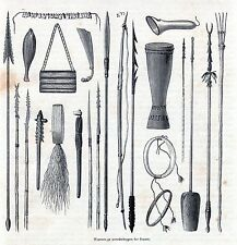 Antique print tools weapons / Papua New Guinea / Waffen Neuguinea holzstich