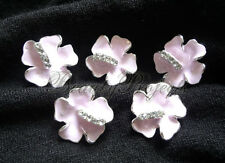 (5pcs) pink flower with sparkly rhinestones nail art charms for nails or acrylic