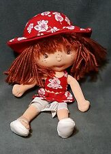 """Bandai 2004 Plush Strawberry Shortcake Doll 10"""" Red Dress Hat Yarn Hair"""