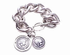 Cool Unisex  Rustic Silver Oversized Fashion Chain Bracelet Coin Charm (Ns8)