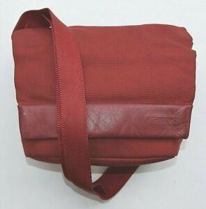 TUMI Red Ballistic Nylon & Leather Trim Front Flap Crossbody Bag Purse Womens