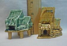 New listing 2 Vintage Ceramic Aquarium Fish Tank Ornament Tiki Huts Japan Lot