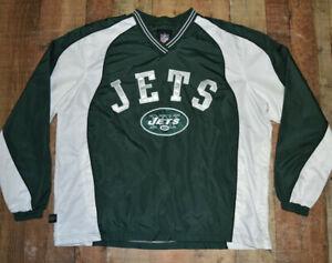 NFL NEW YORK JETS V-Neck Pullover Windbreaker Jacket Mens XL Team Apparel EUC 63