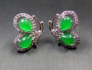 White Gold Plate Icy Green JADE Earrings Butterfly Diamond Imitation 310095